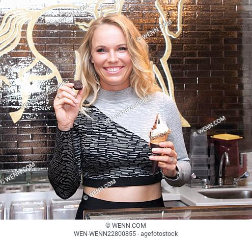 "Caroline Wozniacki """"Serving Up"""" Soft Serve at Godiva Featuring: Caroline Wozniacki Where: New York, New York, United States When: 24 Aug 2015 Credit: WENN"