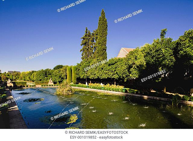 The gardens of the Alcazar of Catholic Kings, Cordoba, Andalusia, Spain