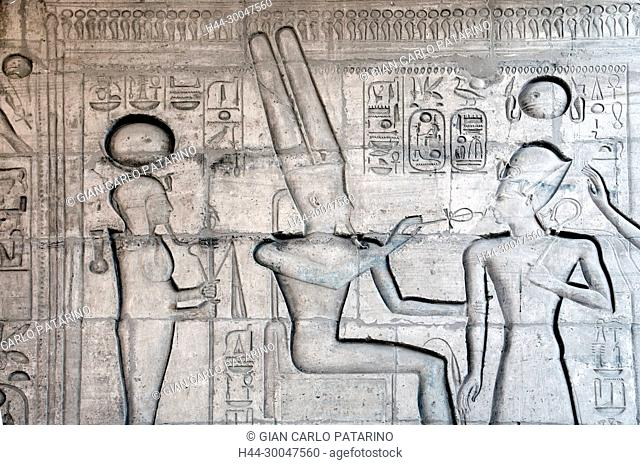 Ramesseum : the funeral temple of pharaoh Ramses II the Great(1303-1213 b.C. XIX dyn.).The king blessed by gods Khons and Amon-Ra
