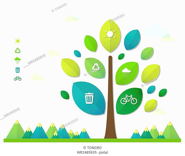 Infographic diagrams of tree and icons related to environmental protection