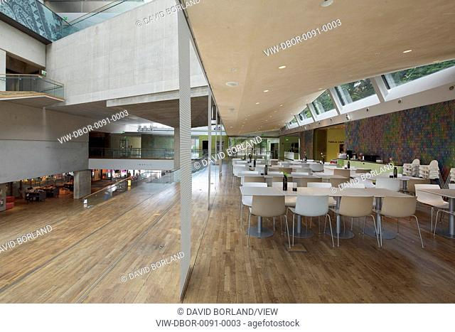 Atrium seen from restaurant level. Museum Of World Culture, Gothenburg, Sweden. Architect: Brisac Gonzalez Architects, 2004