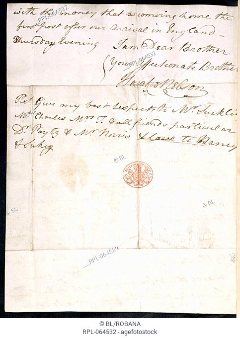 Letter of Lord Nelson Whole folio Autograph letter of Lord Nelson to his brother the Rev. William Nelson. Cadiz Bay 20 February 1777 Image taken from Nelson...