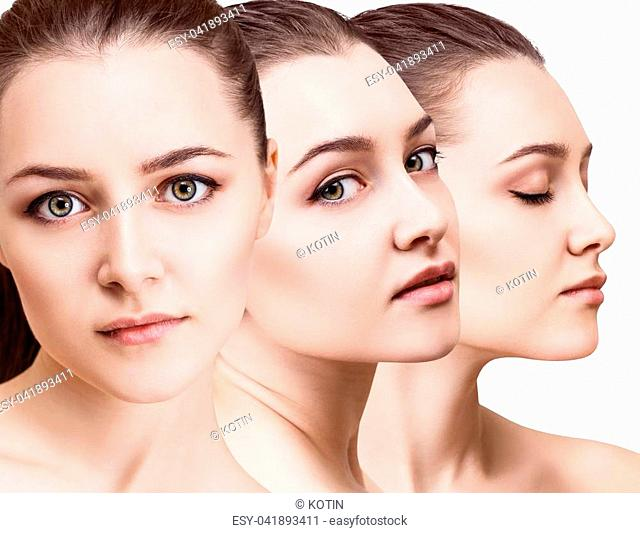 Woman's beauty faces with perfect bright makeup. Healthy skin concept