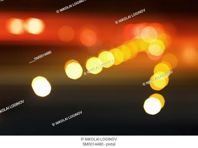 Diagonal night city road illumination bokeh background hd