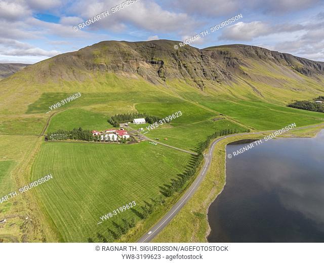 Farmland, Mt Medalfell, Lake Medalfellsvatn, Iceland. This image is shot using a drone