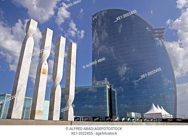 sculpture, Hotel W, arch. Ricardo Bofill, Barcelona, Catalonia, Spain