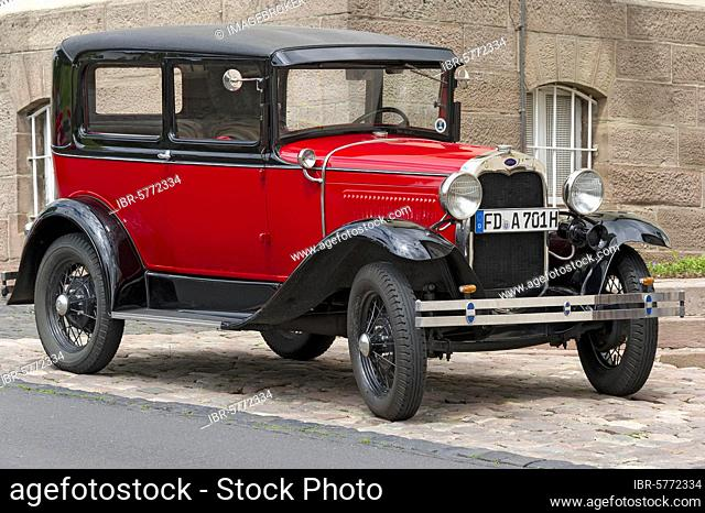 Oldtimer Ford model A, year of construction approx. 1927, Probstei Johannesberg, Fulda, Hesse, Germany, Europe