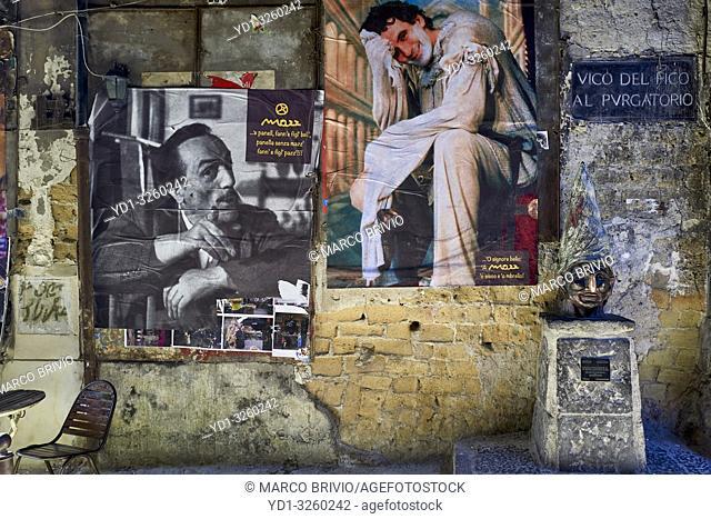 Naples Campania Italy. Street Art graffiti painting, In Vico del Fico al Purgatorio remembering the actor Massimo Troisi and the actor Peppino De Filippo