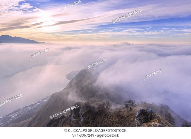 Foggy morning from the top of Monte Barro. Monte Barro Regional Park, Brianza, Lombardy, Italy, Europe