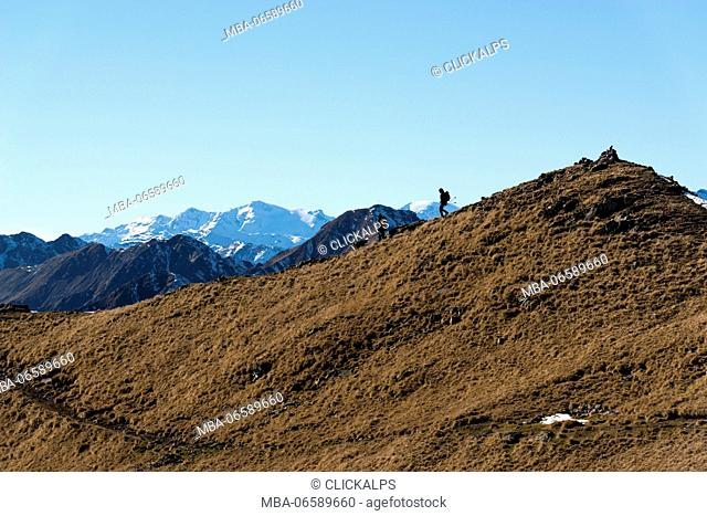 Italy, Trentino Alto Adige, Non valley, two hikers with yours dog on Luco Mount, in the background you see Brenta group