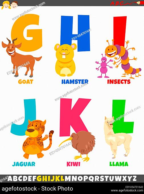 Cartoon Illustration of Colorful Alphabet Set from Letter G to L with Animal Characters