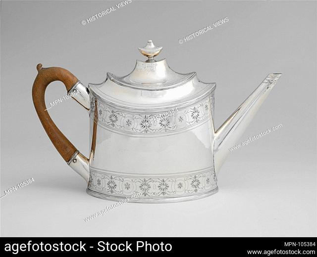 Teapot. Maker: Simeon A. Bayley (active 1784-99); Date: ca. 1790; Geography: Made in New York, New York, United States; Culture: American; Medium: Silver;...