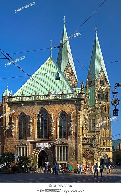 Germany, Bremen, town hall, facade, St  Petri cathedral, towers