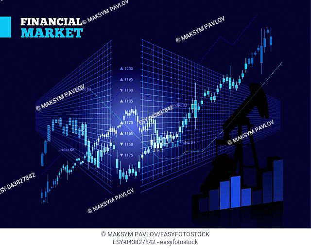 Stock Market Vector Chart on Blue Background
