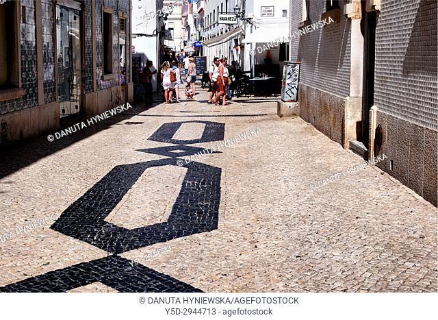Calçada portuguesa, Rua Infante de Sagres, historic part of Lagos city, Algarve, Portugal, Europe