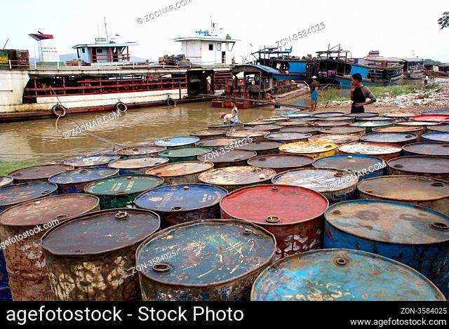 Fuel and boats in Mandalay, Myanmar, Burma