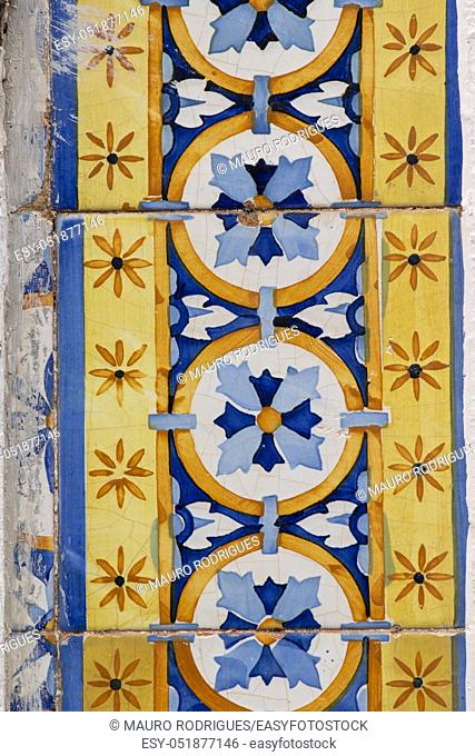 Close up view of the beautiful portuguese azulejo texture