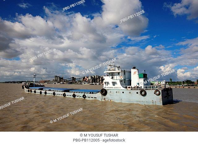 cargo vessel at Poshur River at Mongla sea port, Khulna, Bangladesh
