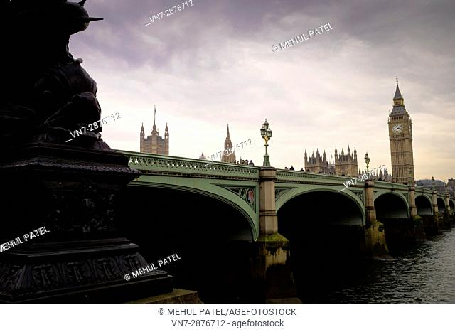 Westminster Bridge - London, at dusk. The bridge provides road and foot links across the river Thames joining north and south London