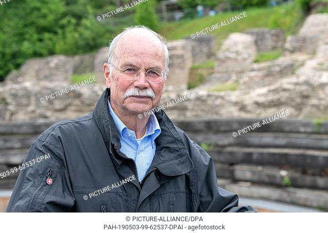 03 May 2019, Rhineland-Palatinate, Mainz: Hans Marg, chairman of the Initiative Römisches Mainz e.V., stands in the Römisches Theater