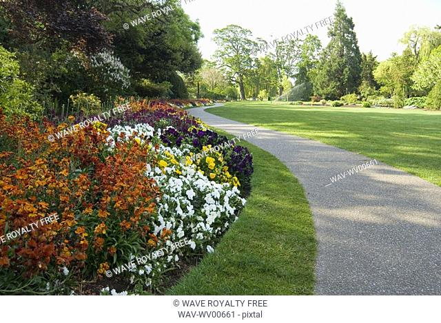 Flower garden and pathway, Beacon Hill Park, Victoria, BC, Canada