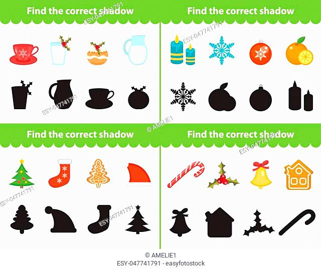 Childrens educational game, find correct shadow silhouette. Items for find the right shade. Vector illustration