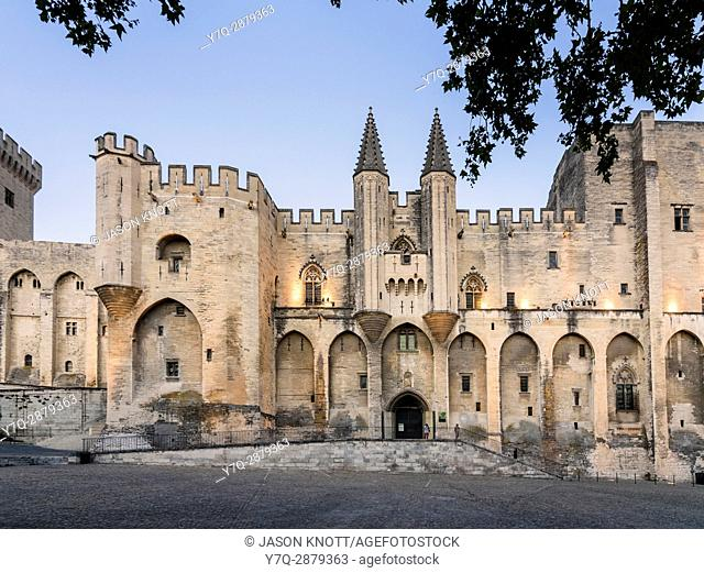 Evening light over the Gothic twin towered facade of the Palais Neuf, Palais des Papes, Palace Square, Avignon, Vaucluse, Provence-Alpes-Cote d'Azur, France