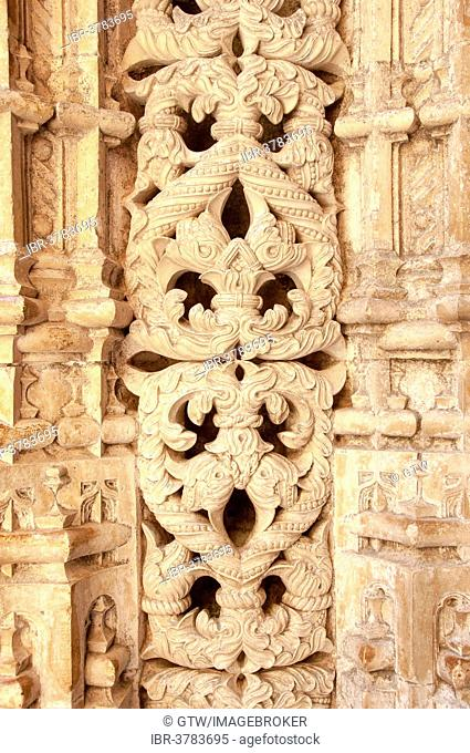 Manueline decoration, Unfinished Chapels, Dominican abbey Batalha Monastery, Unesco World Heritage Site, Batalha, Leiria district, Portugal