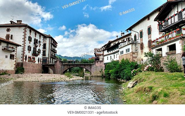 Baztan river and Elizondo village, Baztan valley, Navarre, Spain