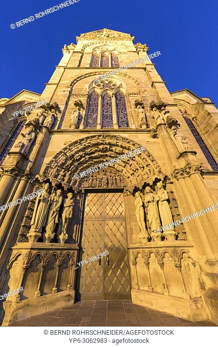 portal of Church of Our Lady at night, World Heritage Site, Trier, Rhineland-Palatinate, Germany