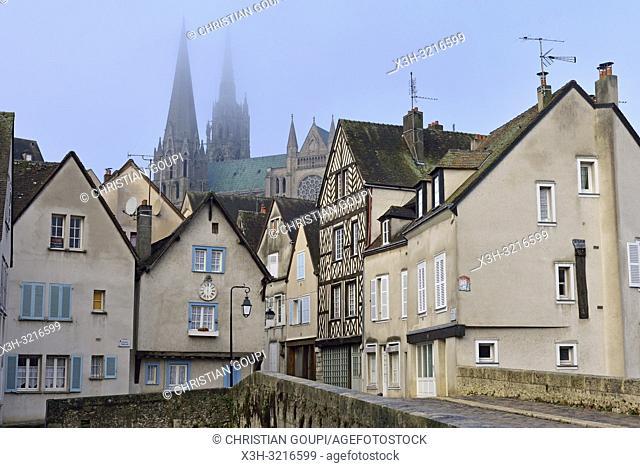 pont Bouju et rue du Bourg avec la Cathedrale de Chartres en arriere-plan, Eure-et-Loir, region Centre, France, Europe/Bouju bridge and Bourg street with the...