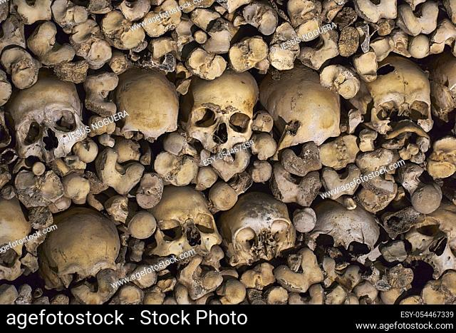 remains of human bones embedded in the wall