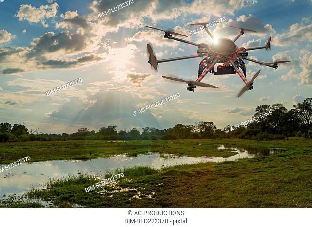 Drone hovering over swamp, Okavango delta, Botswana, Botswana