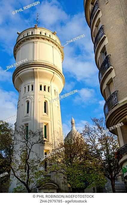 Paris, France. Chateau d'Eau de Montmartre in Square Claude Charpentier - water tower, built 1927. 700m3 capacity, supplying the homes on top of the hill