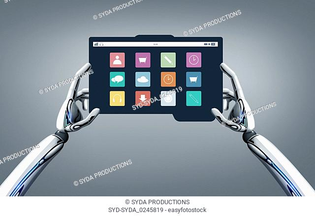 robot hands with menu icons on tablet pc screen