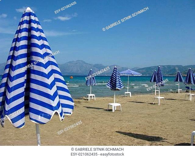 Leerer Strand in Griechenland. Almyros Beach, Kreta