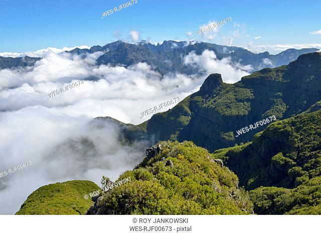 Portugal, Madeira, view from Bica da Cana to the mountains