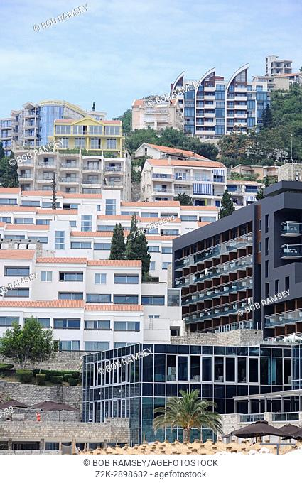 The modern part of the city in Budva