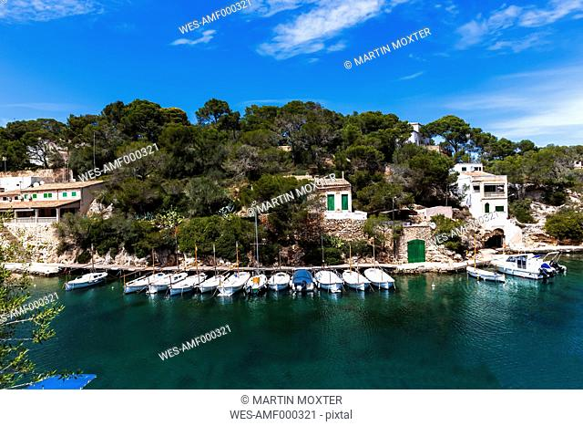 Spain, Majorca, View of Fishing boat at harbour of Cala Figuera