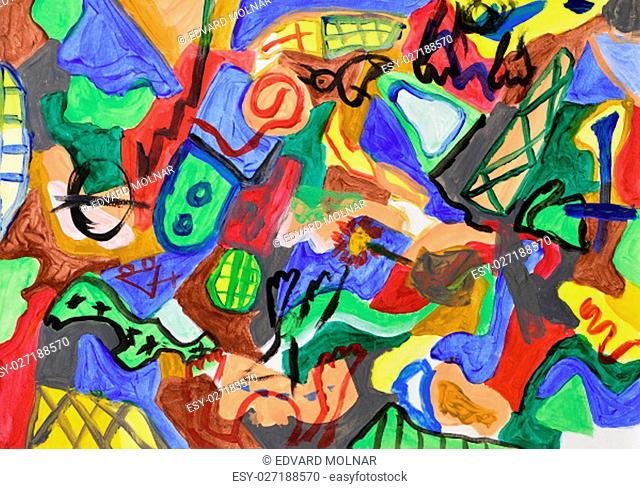 Abstract colorful hand painted background. Acrylic painting