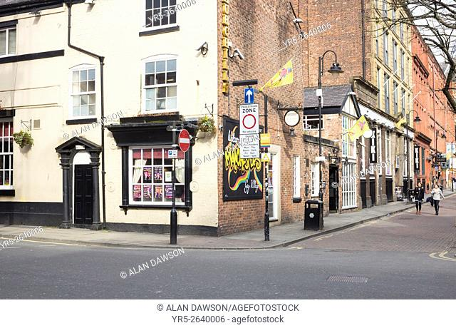 Canal street in Manchester`s gay village. Manchester, England. United Kingdom