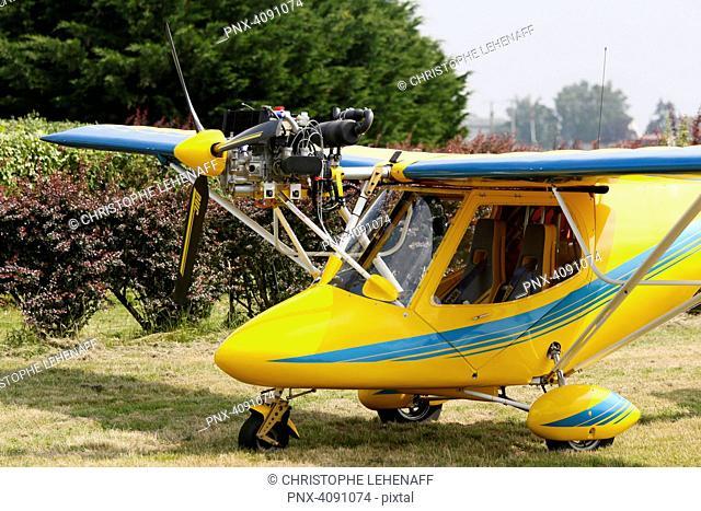 Seine et Marne. Fontenay Tresigny. Aerodrome. Close up on a parked Spring Bok ULM
