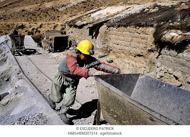 Bolivia, Potosi department, Potosi province, Potosi, Candelaria mine on the Cerro Rico, miners pushing carts