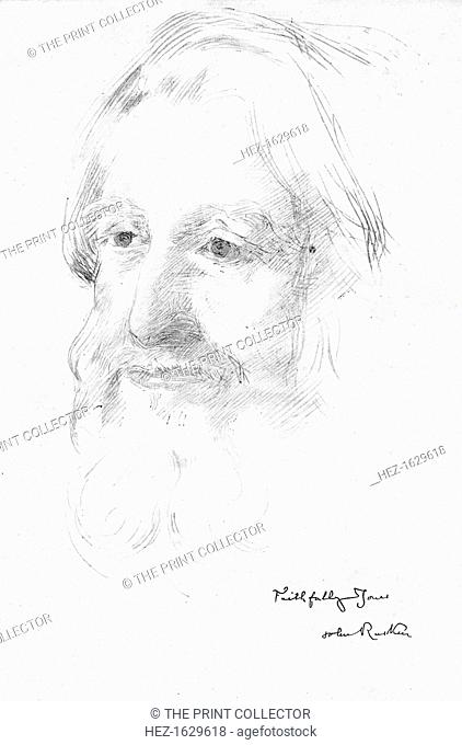 John Ruskin, late 19th century. Silver point drawing of John Ruskin (1819-1900), English artist, critic, author, and painter