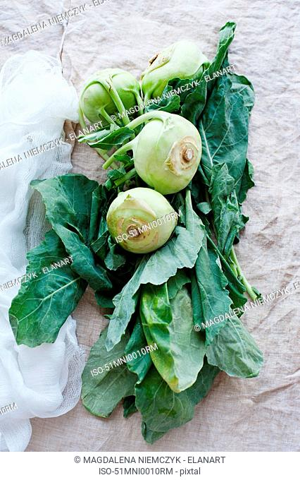 Leafy root vegetable on table