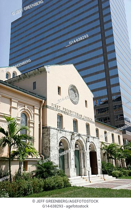 Florida, Miami, Brickell Avenue, First Presbyterian Church, built 1949, high rise office building