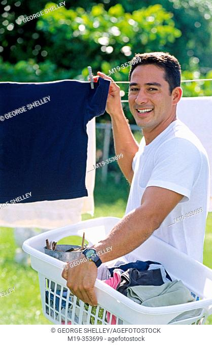 Man drying clothes