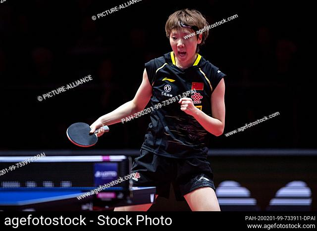 01 February 2020, Saxony-Anhalt, Magdeburg: Table tennis: German Open, women, singles, quarter finals, Wang (China) - Sun (China). Wang Manyu