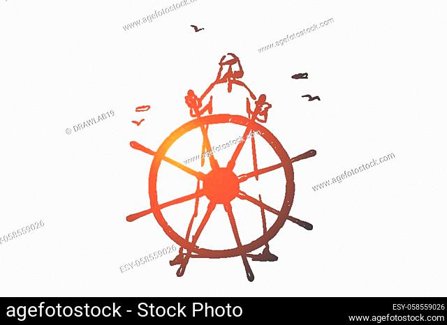 Success, leadership concept sketch. Arab in hijab standing and steering ship. Hand drawn isolated vector illustration