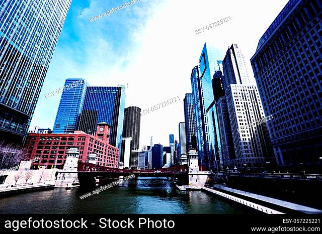 Financial downtown district view in city of Chicago, Illinois, USA